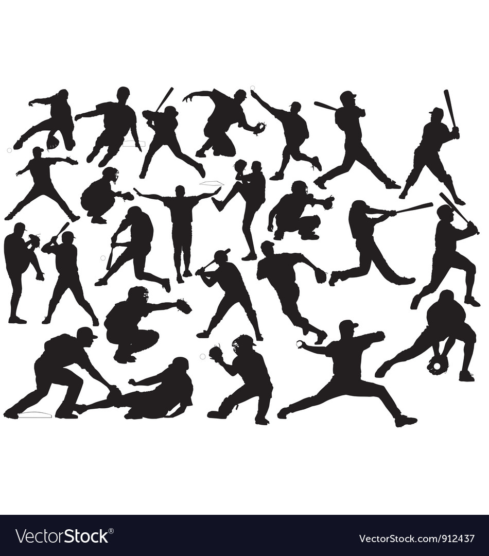 Baseball player silhouettes vector