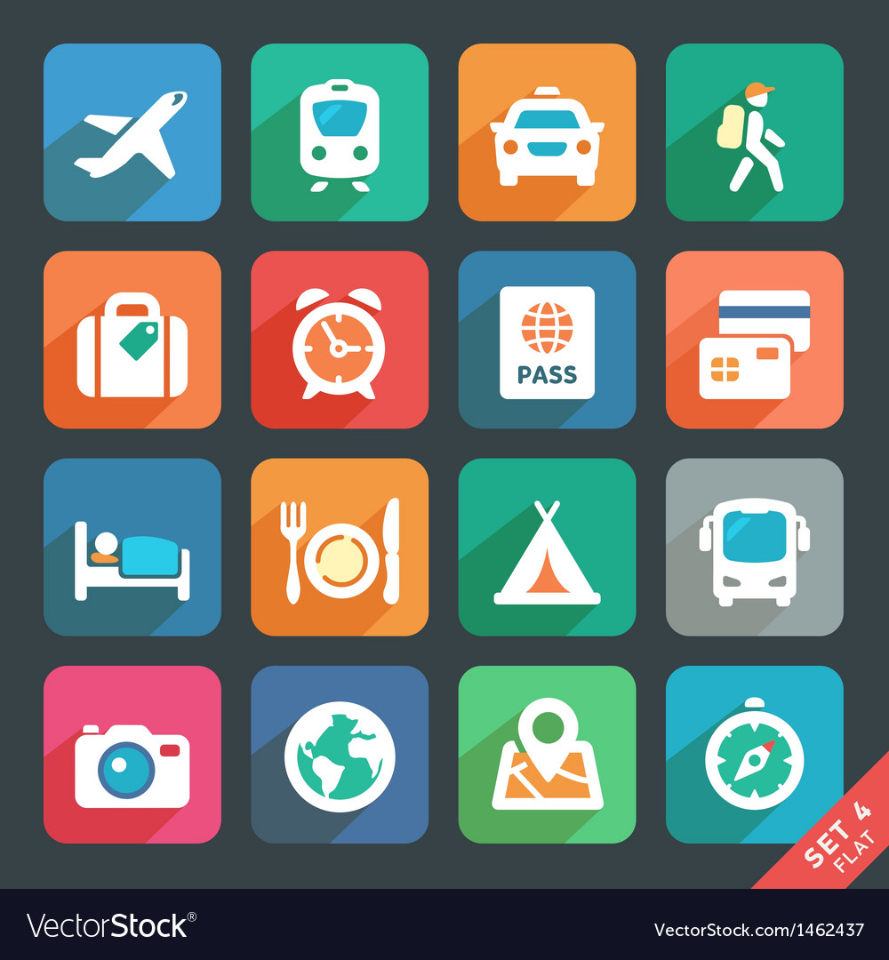 Traveling and transport flat icons vector