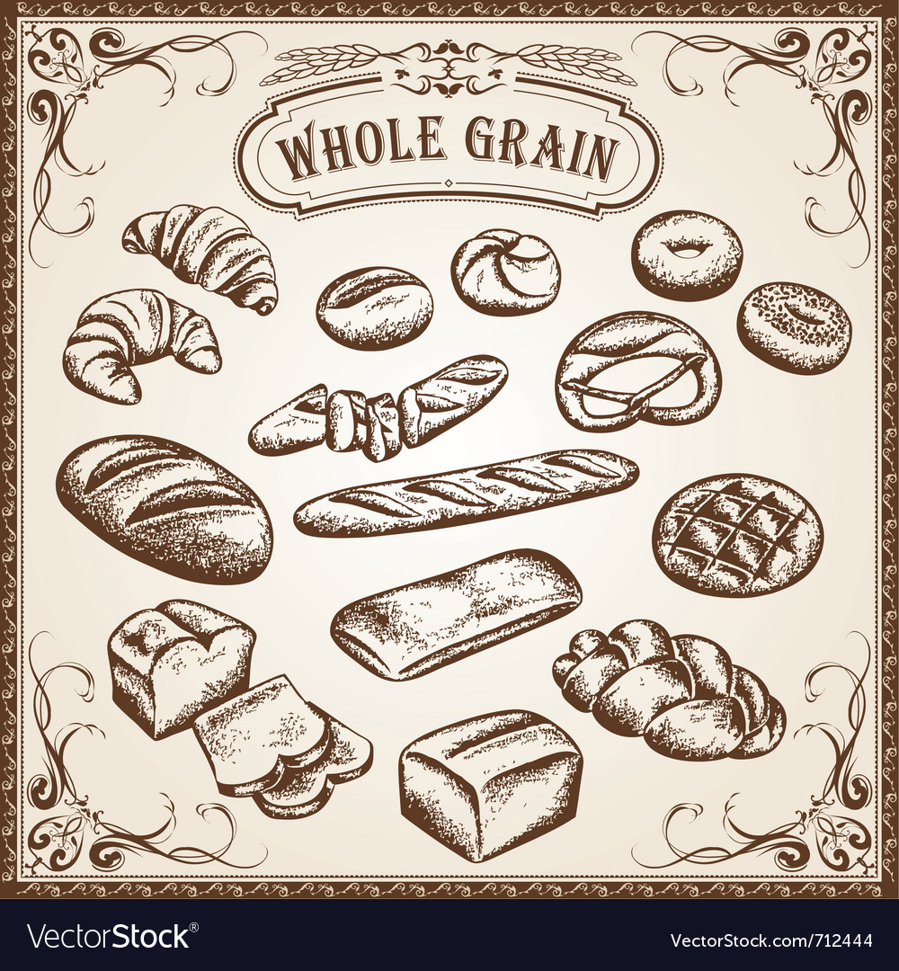 Bakery set whole grain vector