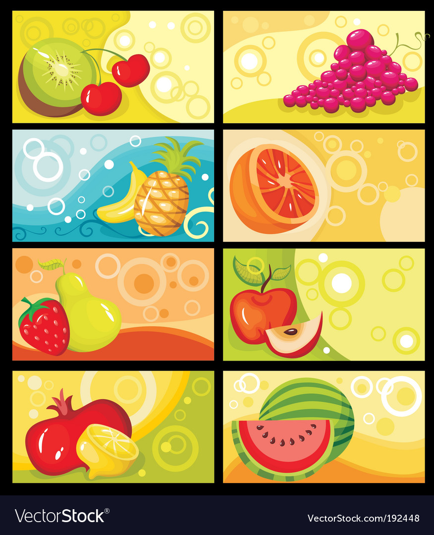 Fruit card set vector