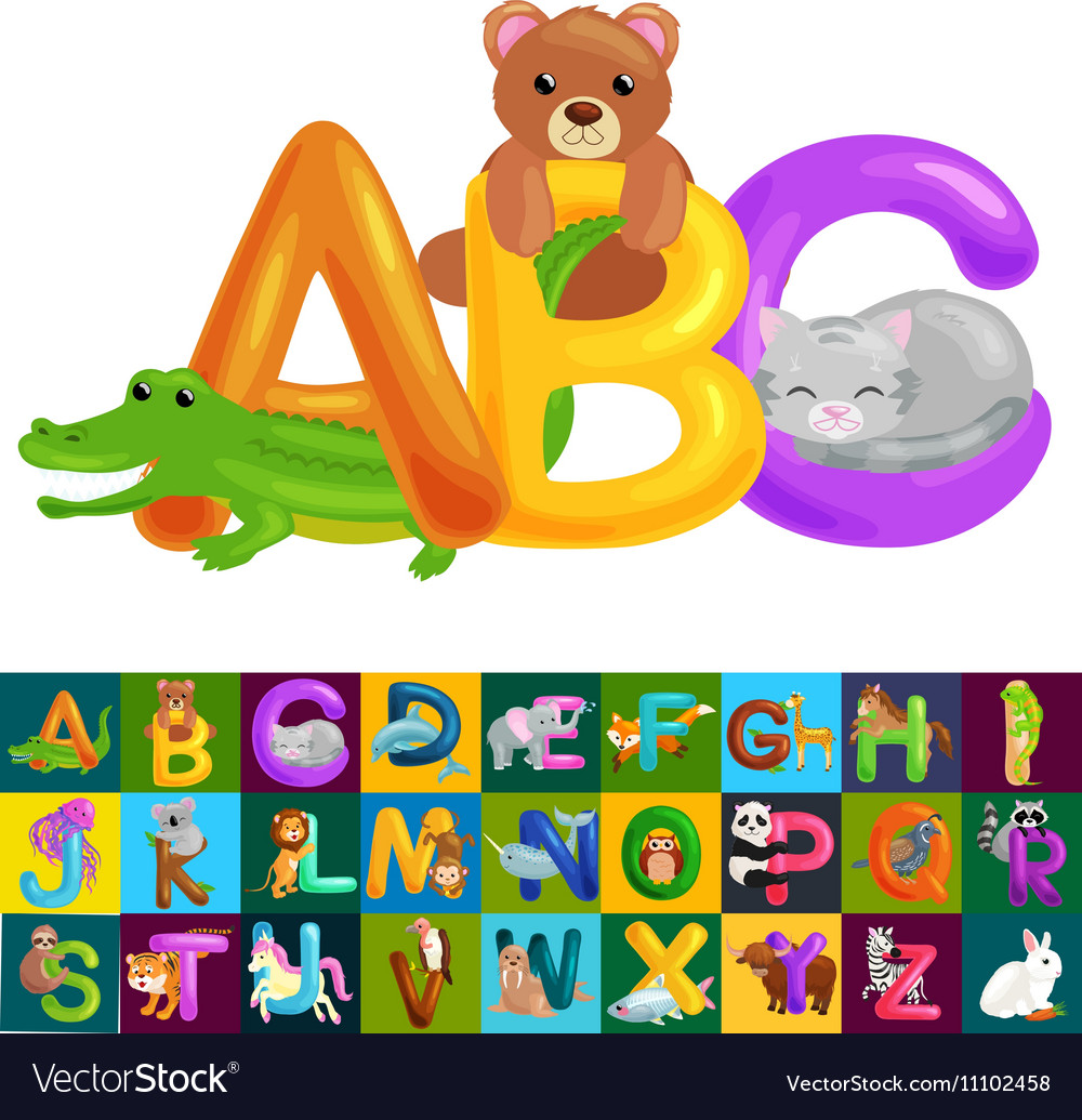 Abc animal letters for school or kindergarten vector by AnnaBerg ...