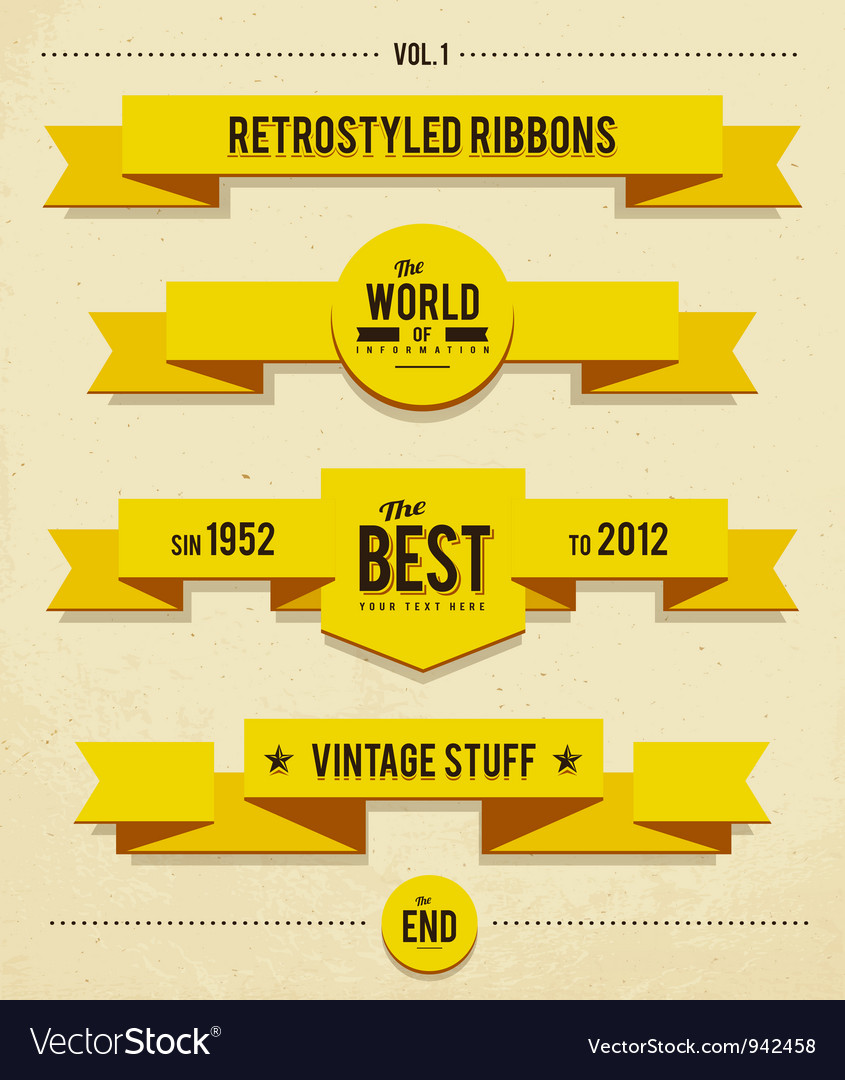 Retro syled ribbons vector