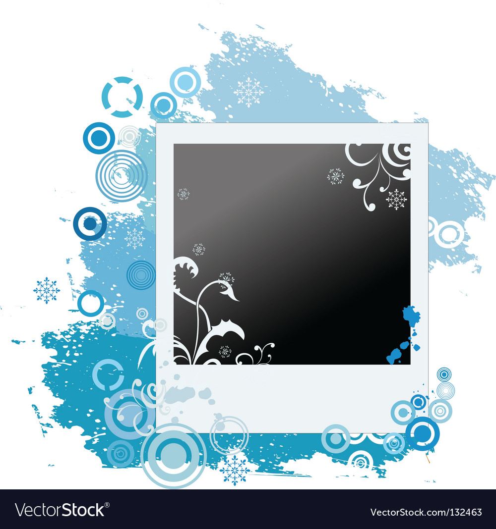 Grunge winter polaroid with snowflakes vector