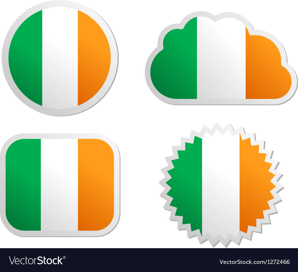 Ireland flag labels vector