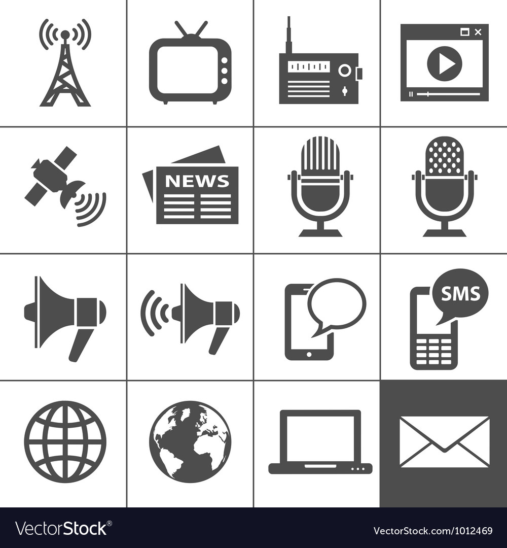 Media icons set  simplus series vector