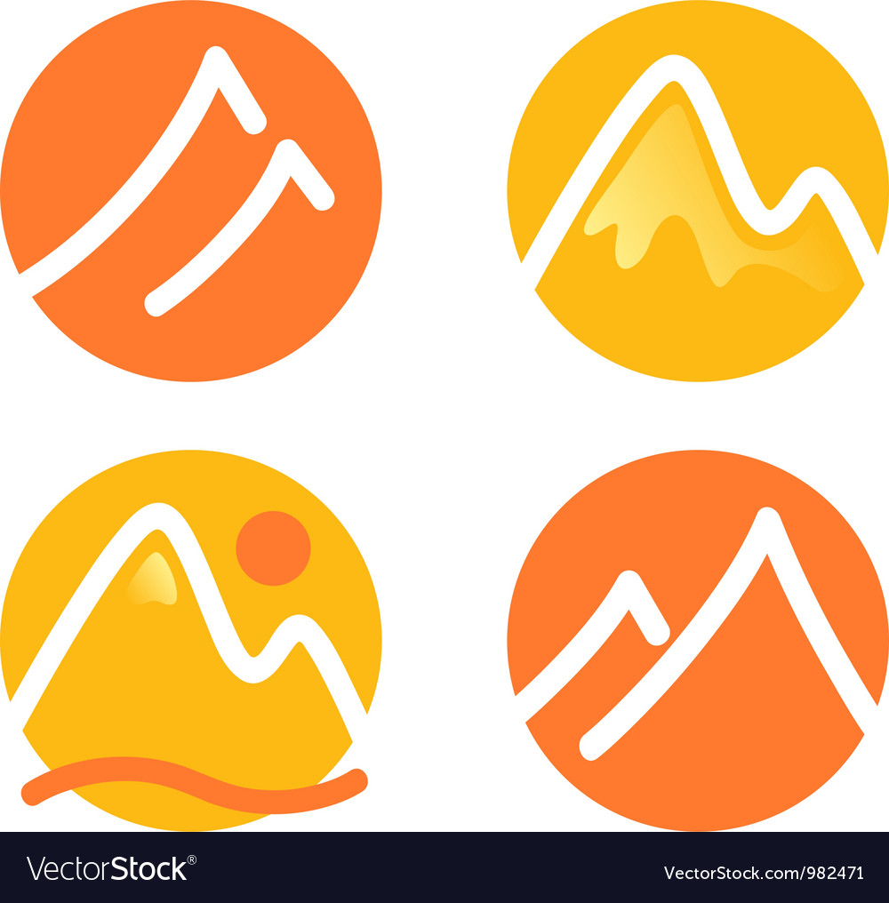 Mountain icons set isolated on white  orange vector