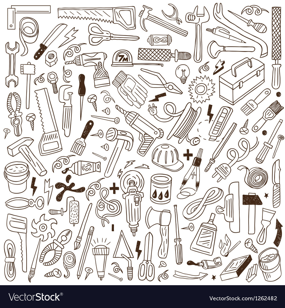 Working tools  doodles vector