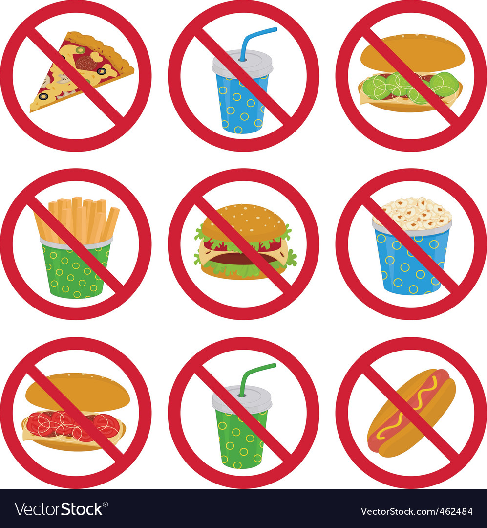 Antifast food signs vector