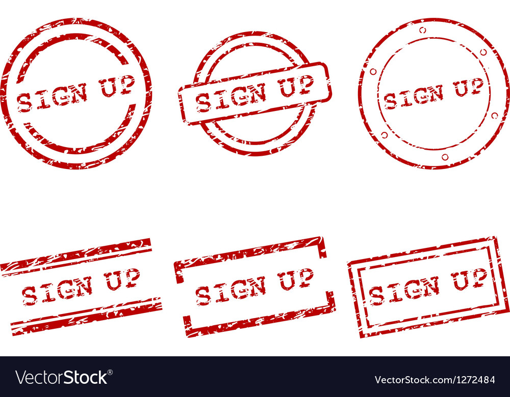 Sign up stamps vector