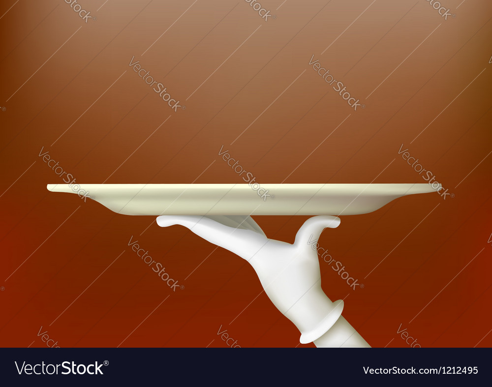 Hand in a white glove holding a tray vector