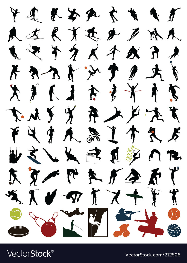 Collection of silhouettes of sportsmen vector