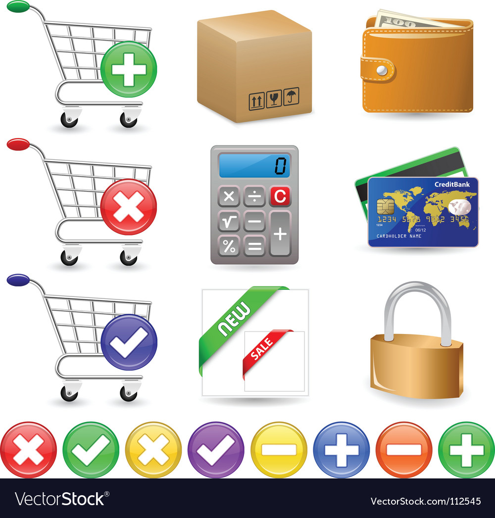 Web shop icon set vector