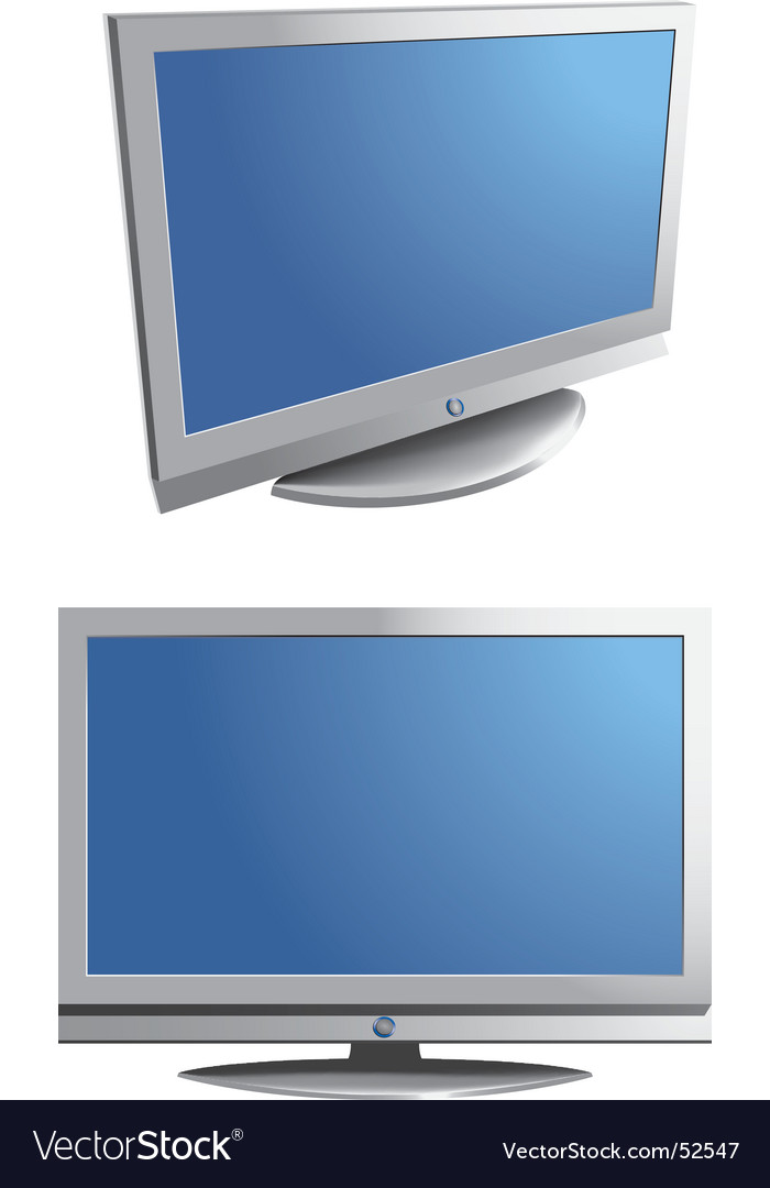 Flat screen monitor tv vector
