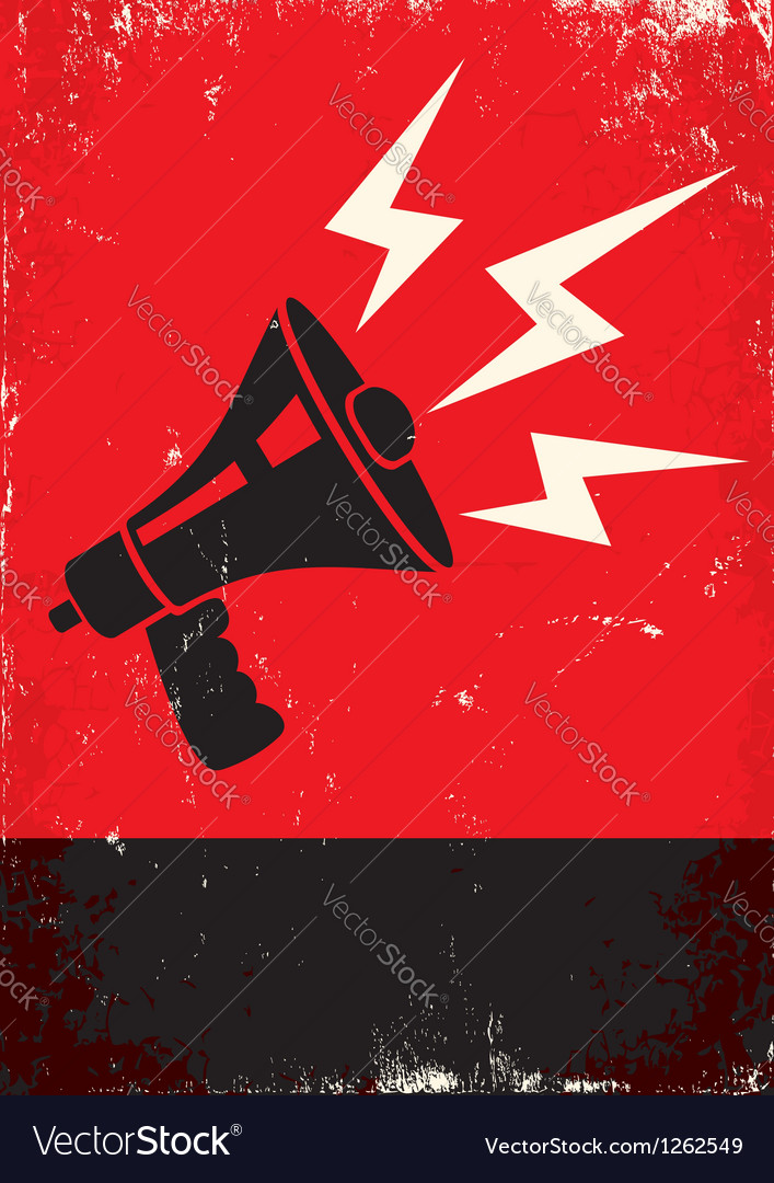 Red poster with megaphone vector