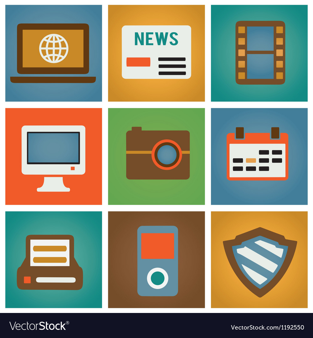 Retro social media icons for design vector