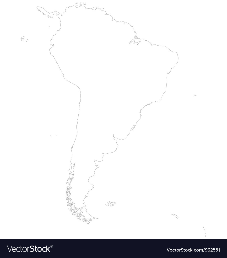 Outline map of south america vector