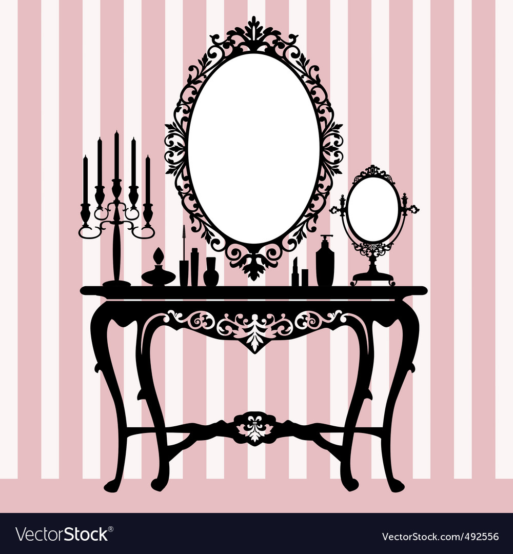Retro dressing console vector