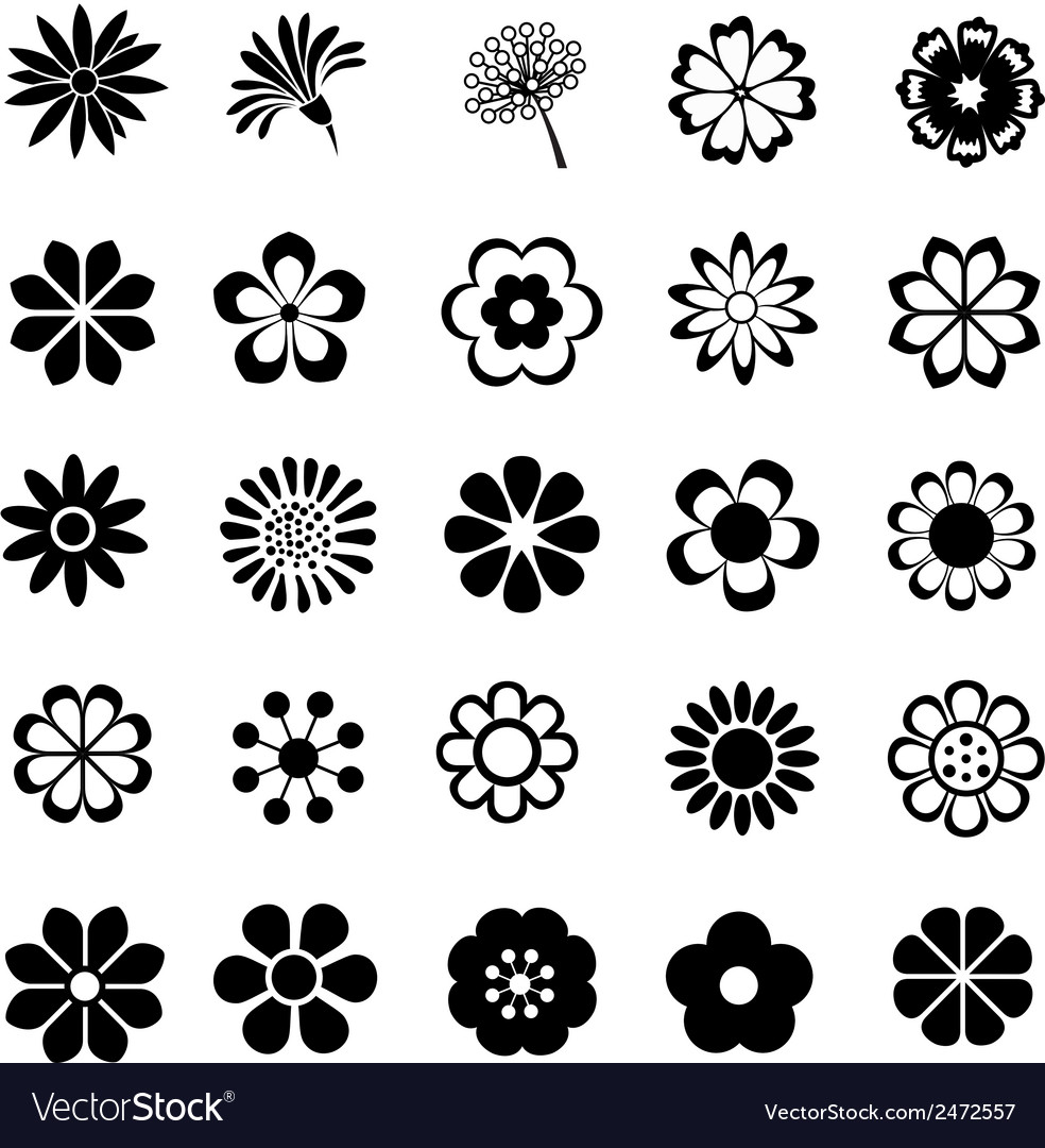 Flower set icon vector