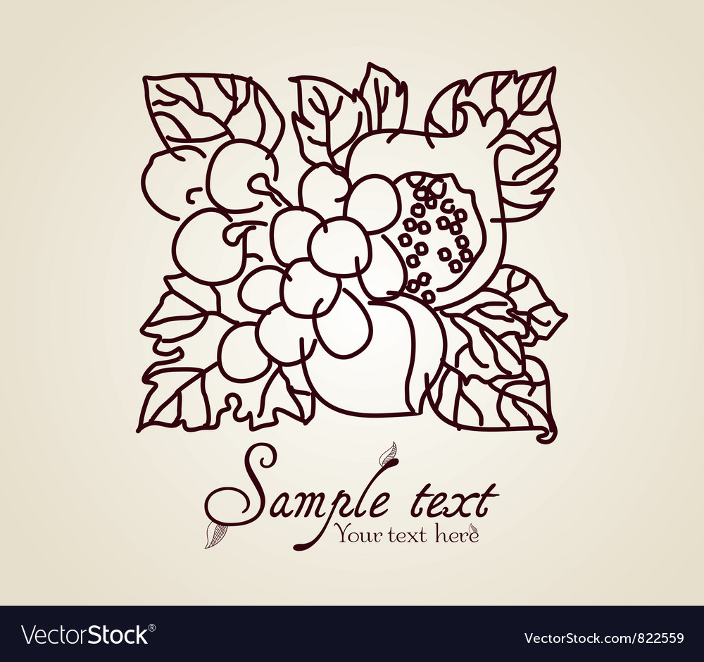 Vintage fruits vector