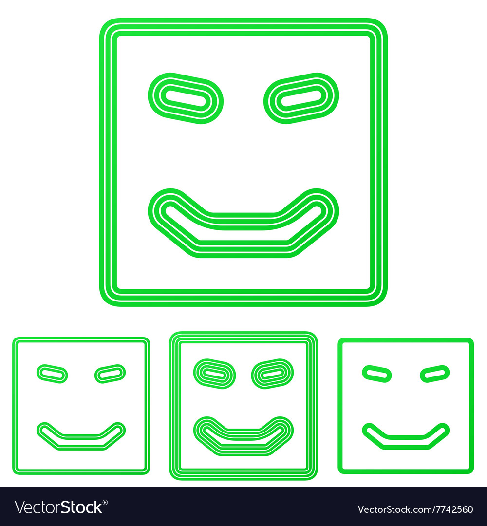 Green line happy logo design set