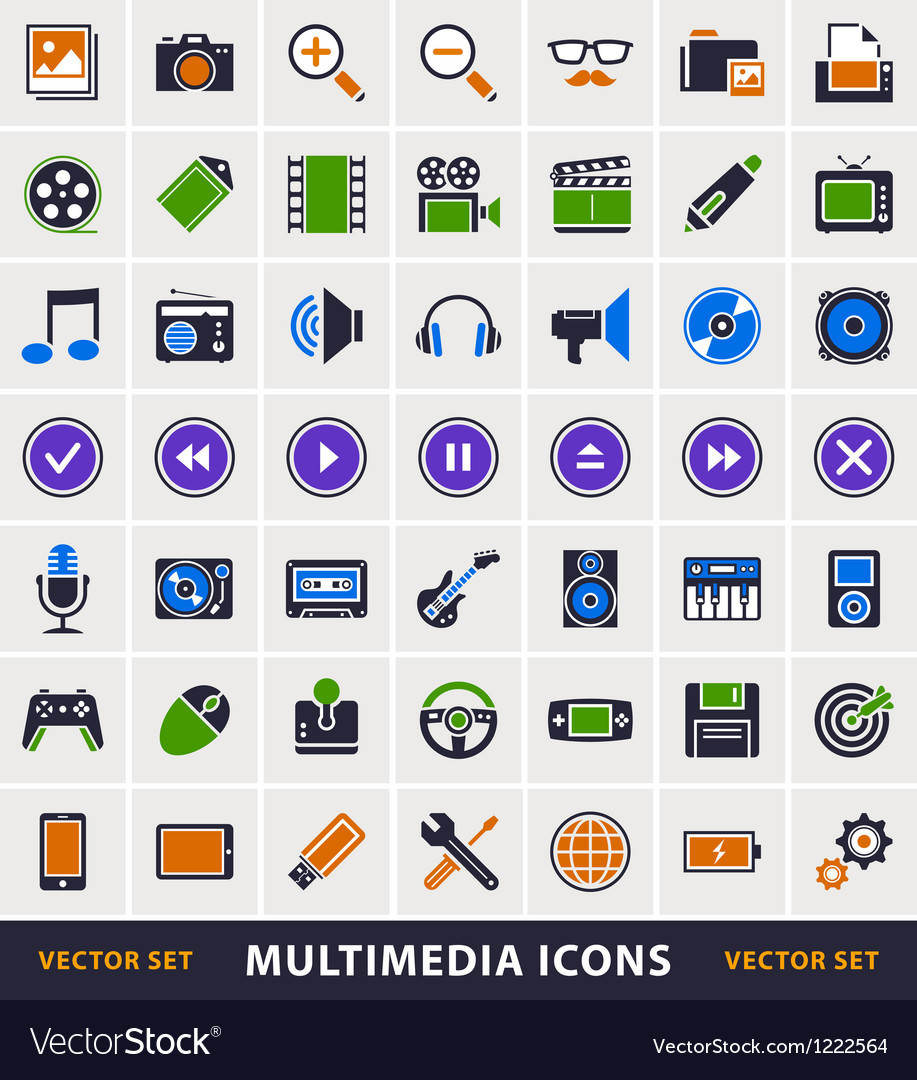 Multimedia simple icons vector