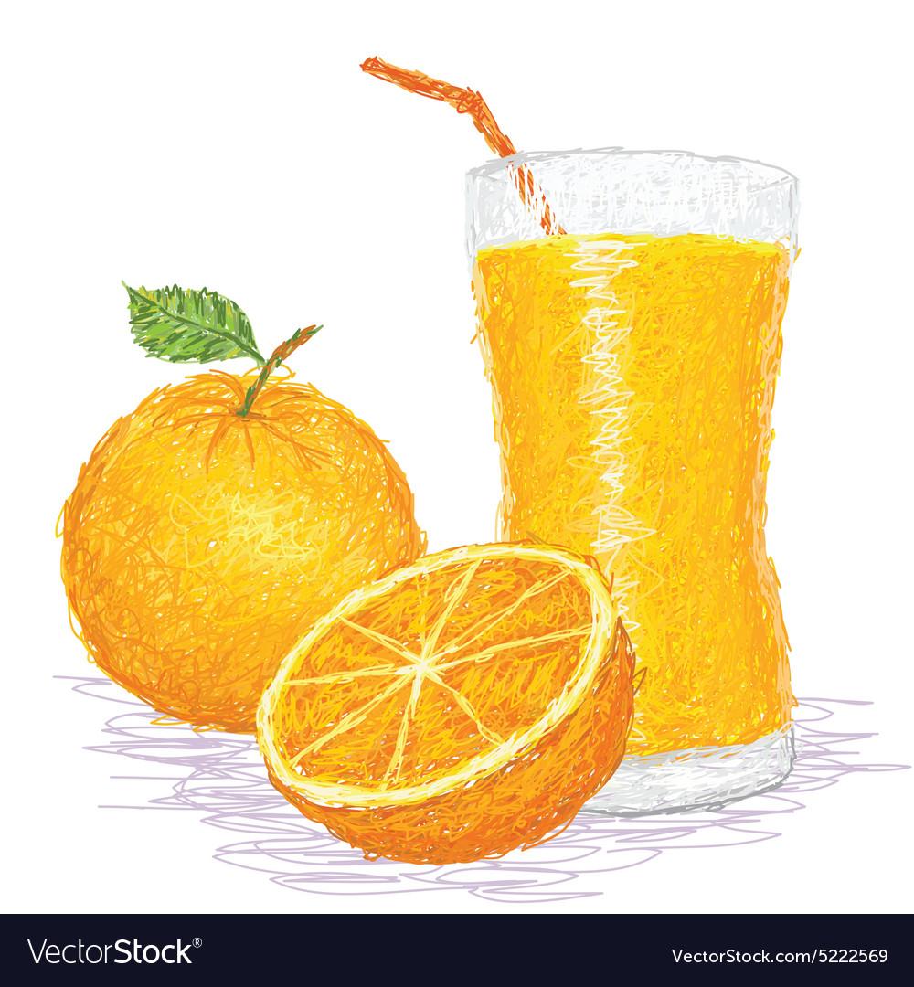 Closeup of a fresh orange fruit and a glass of