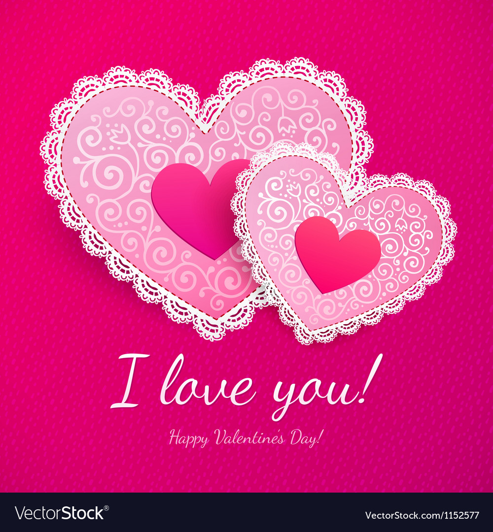 Valentines day lacy hearts greeting card vector