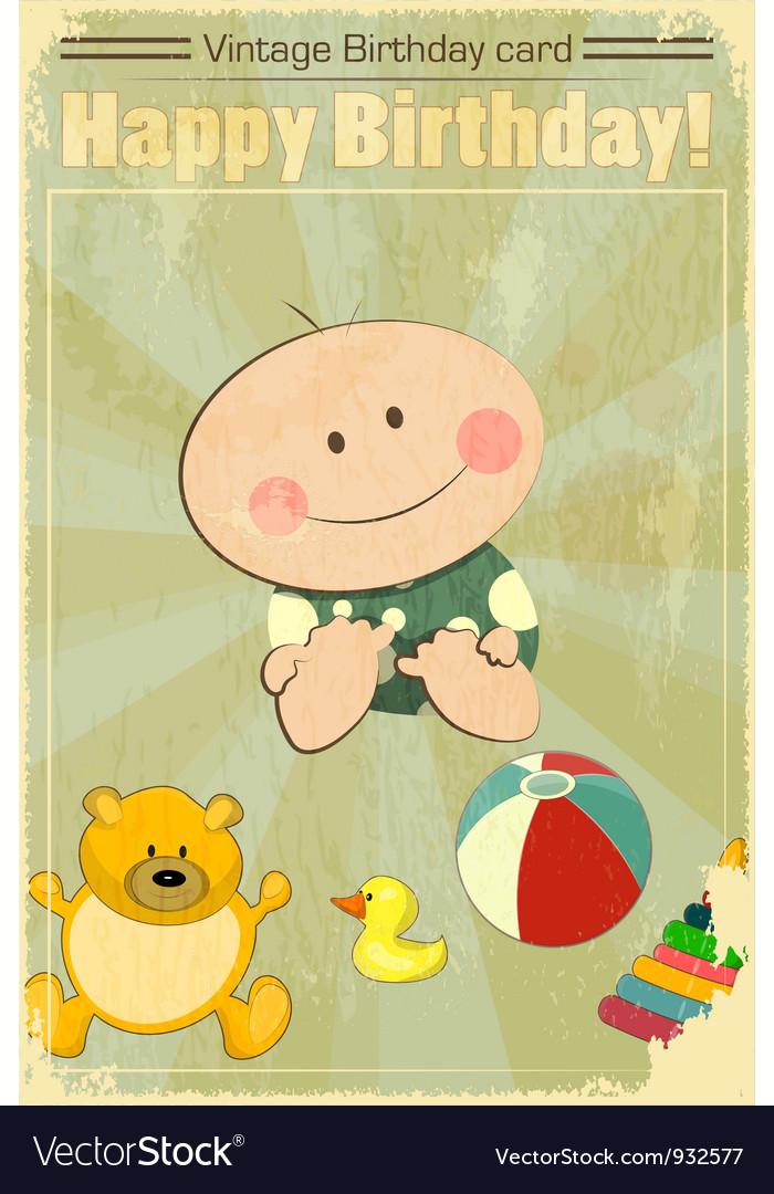 vintage baby birthday card vector by elfivetrov  image, Birthday card