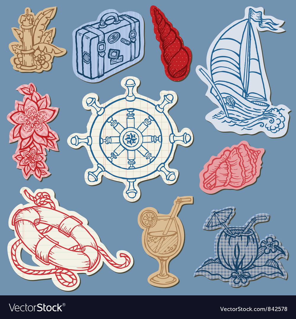 Nautical doodles on torn paper vector