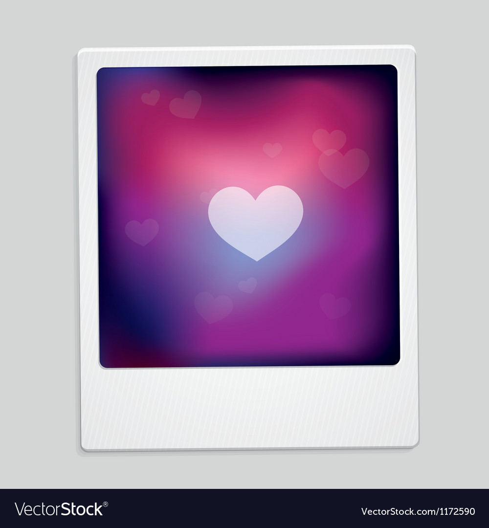 Heart sign on polaroid frame  abstract car vector