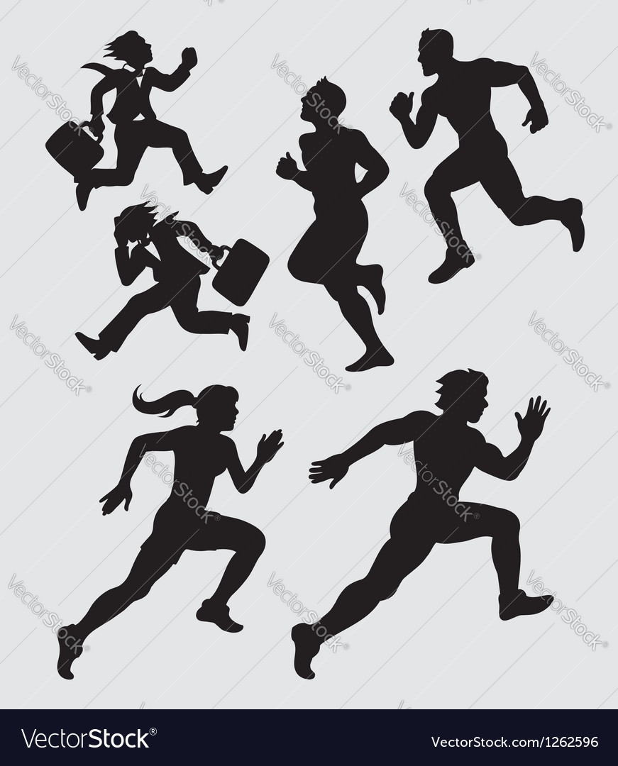 Running silhouettes 1 vector