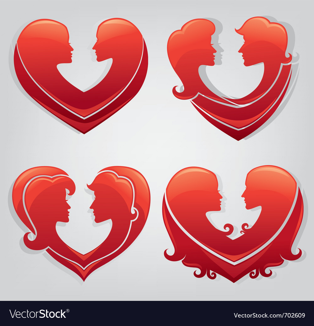 Stickers of love vector