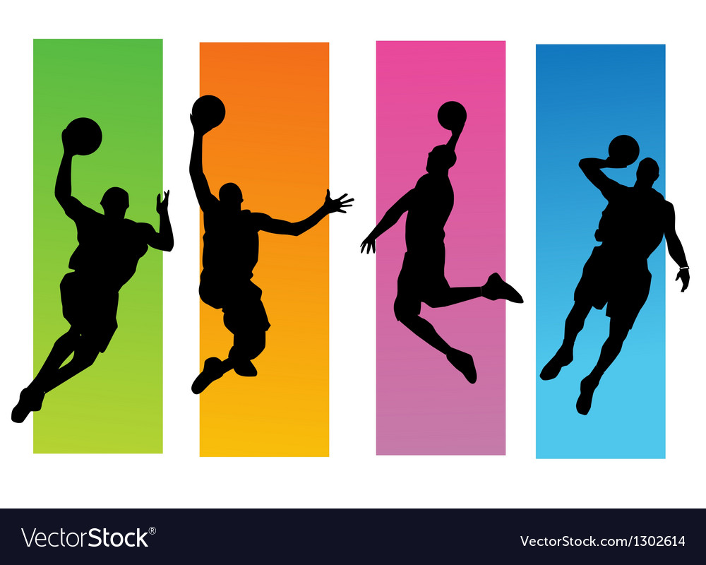 Basketballer silhouettes vector