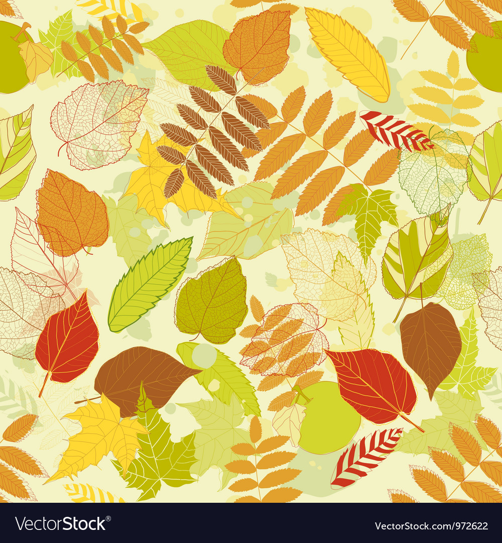 Autumnal bright leaf seamless vector