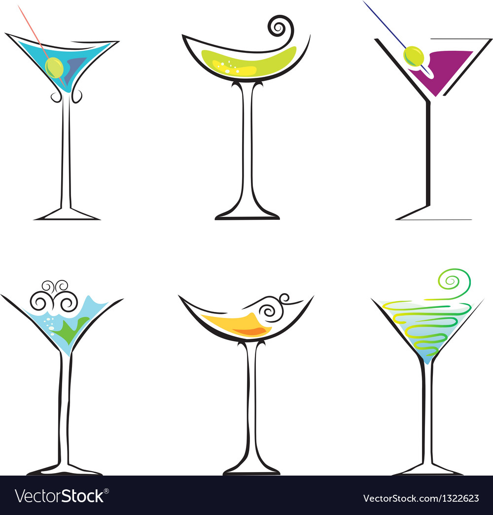 6 cocktails against white background vector