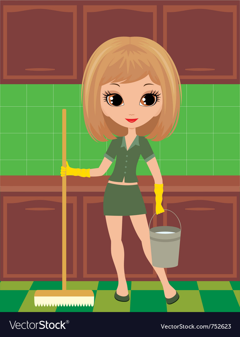 Girl cleans vector