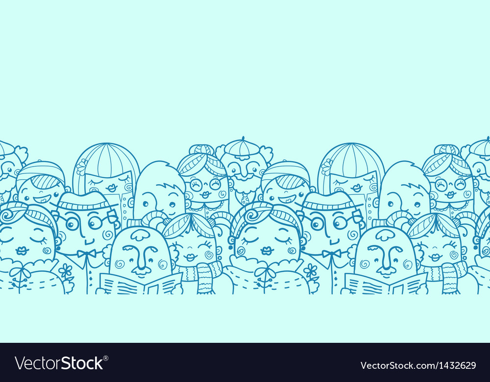 People in a crowd horizontal seamless pattern vector