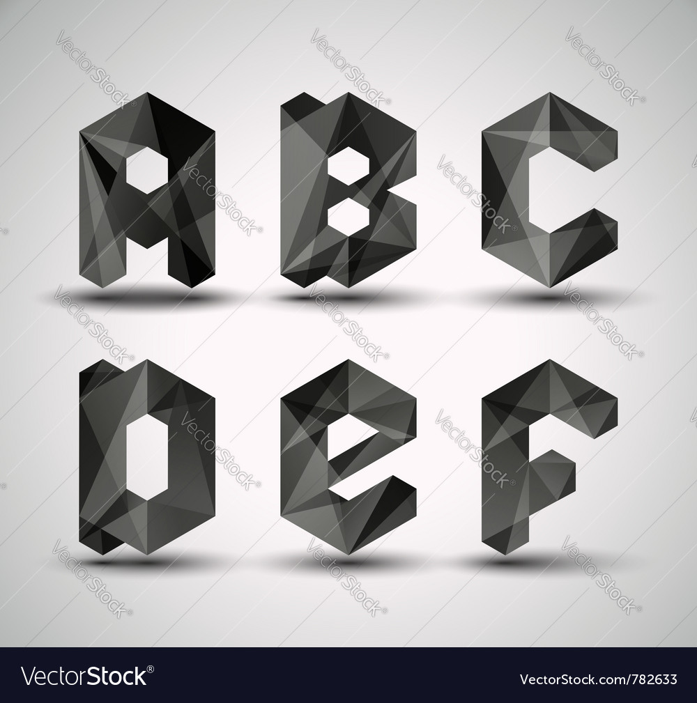 Trendy black alphabet vector