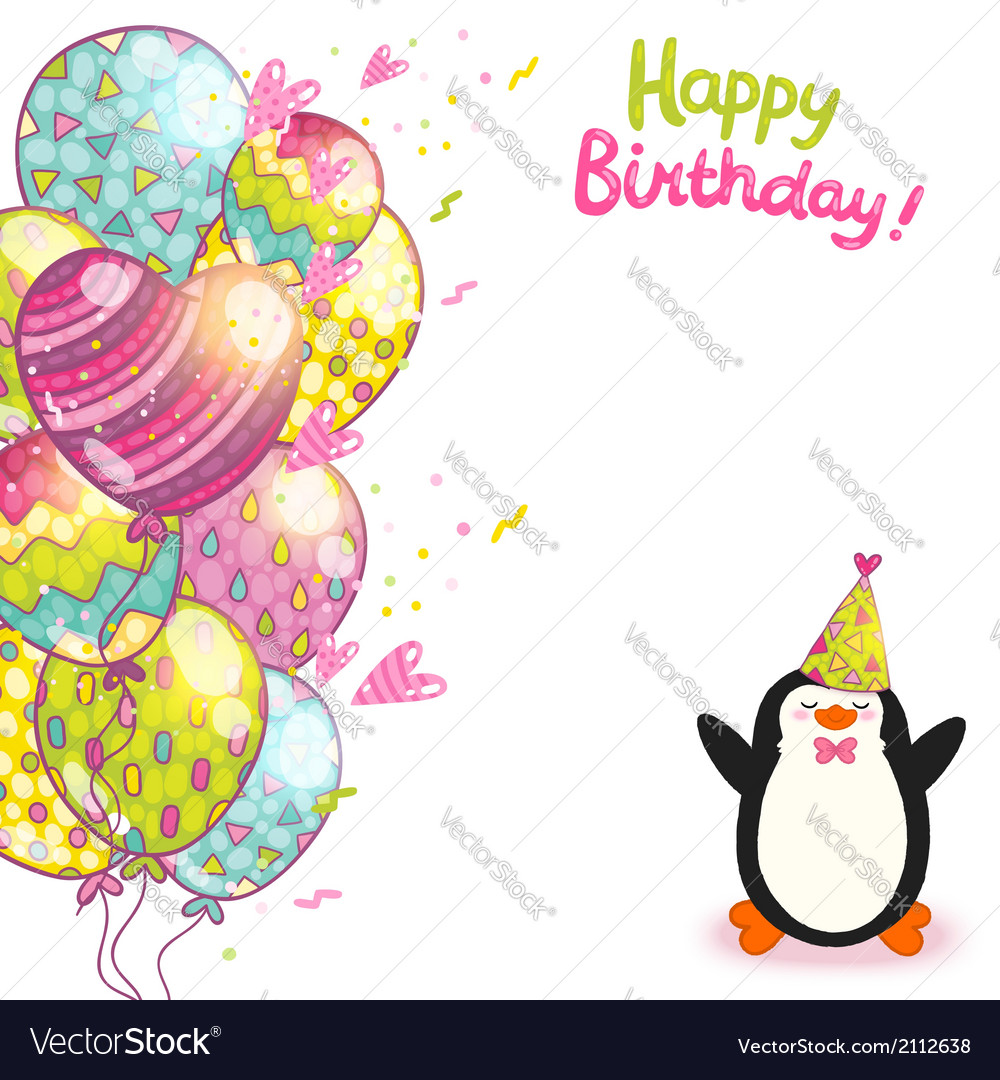 happy birthday card background with cute penguin vector by, Birthday card