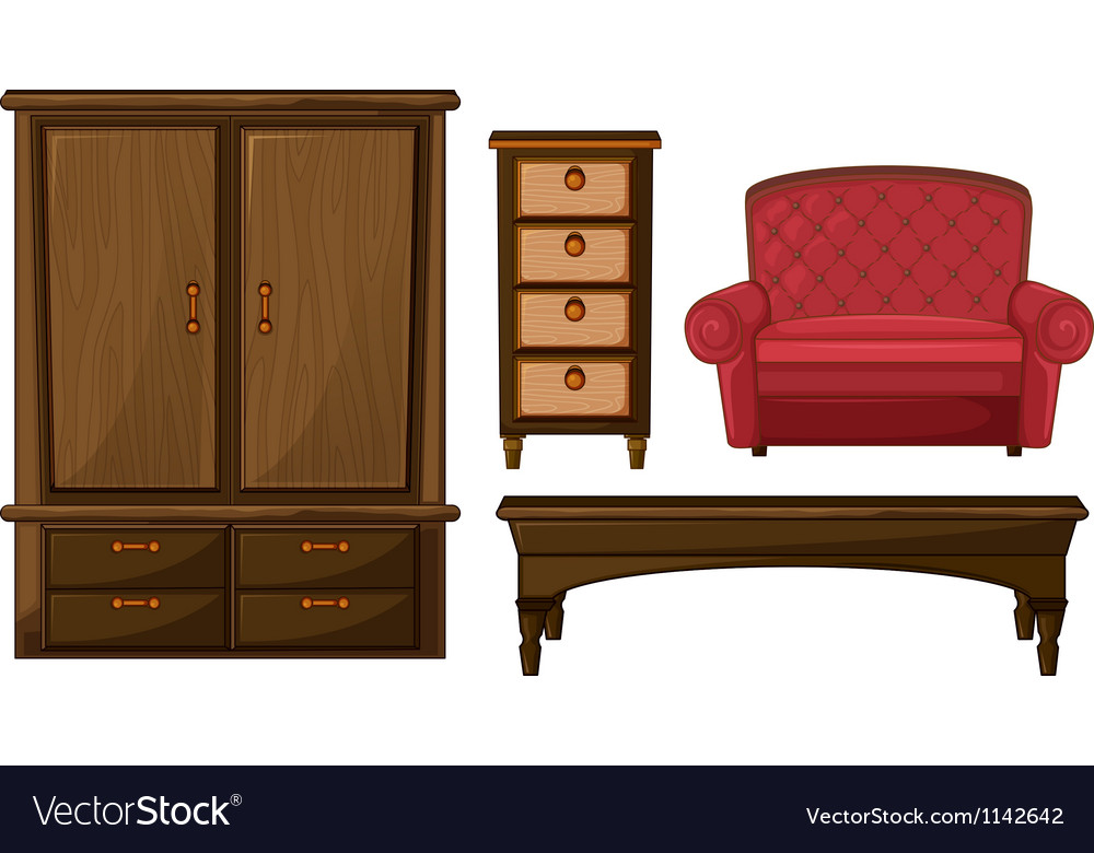 A closet drawer table and couch vector
