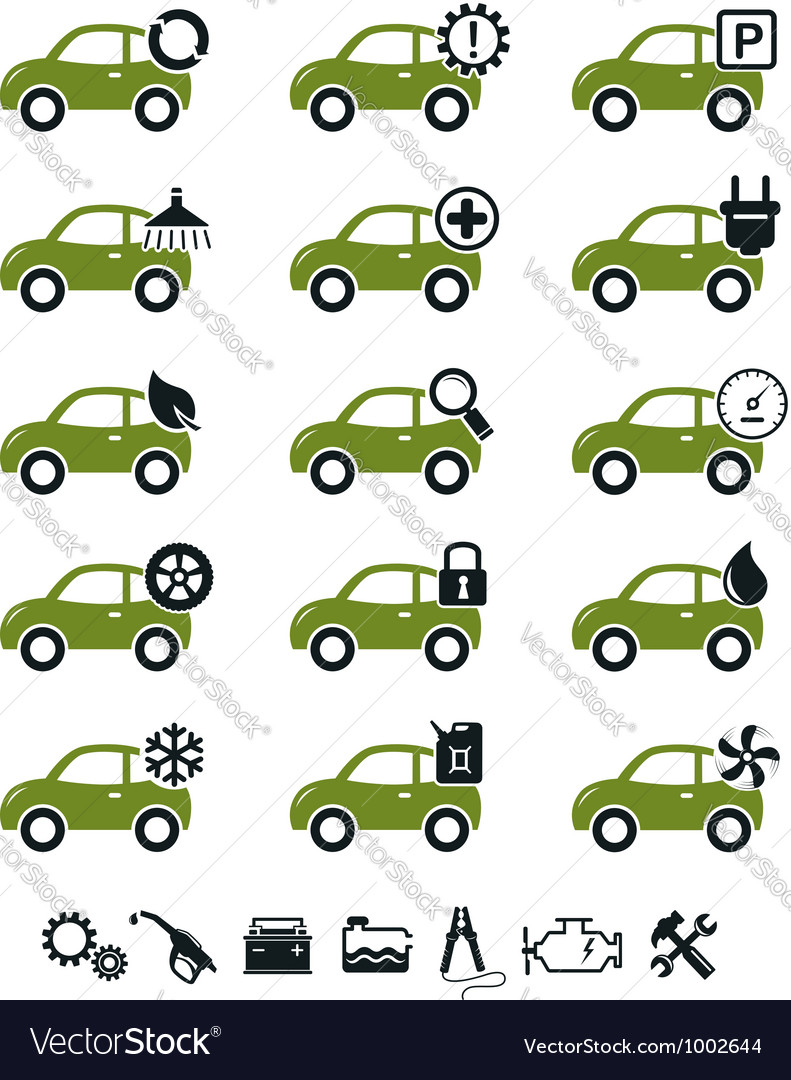 Car mechanic service and repair icons green set vector