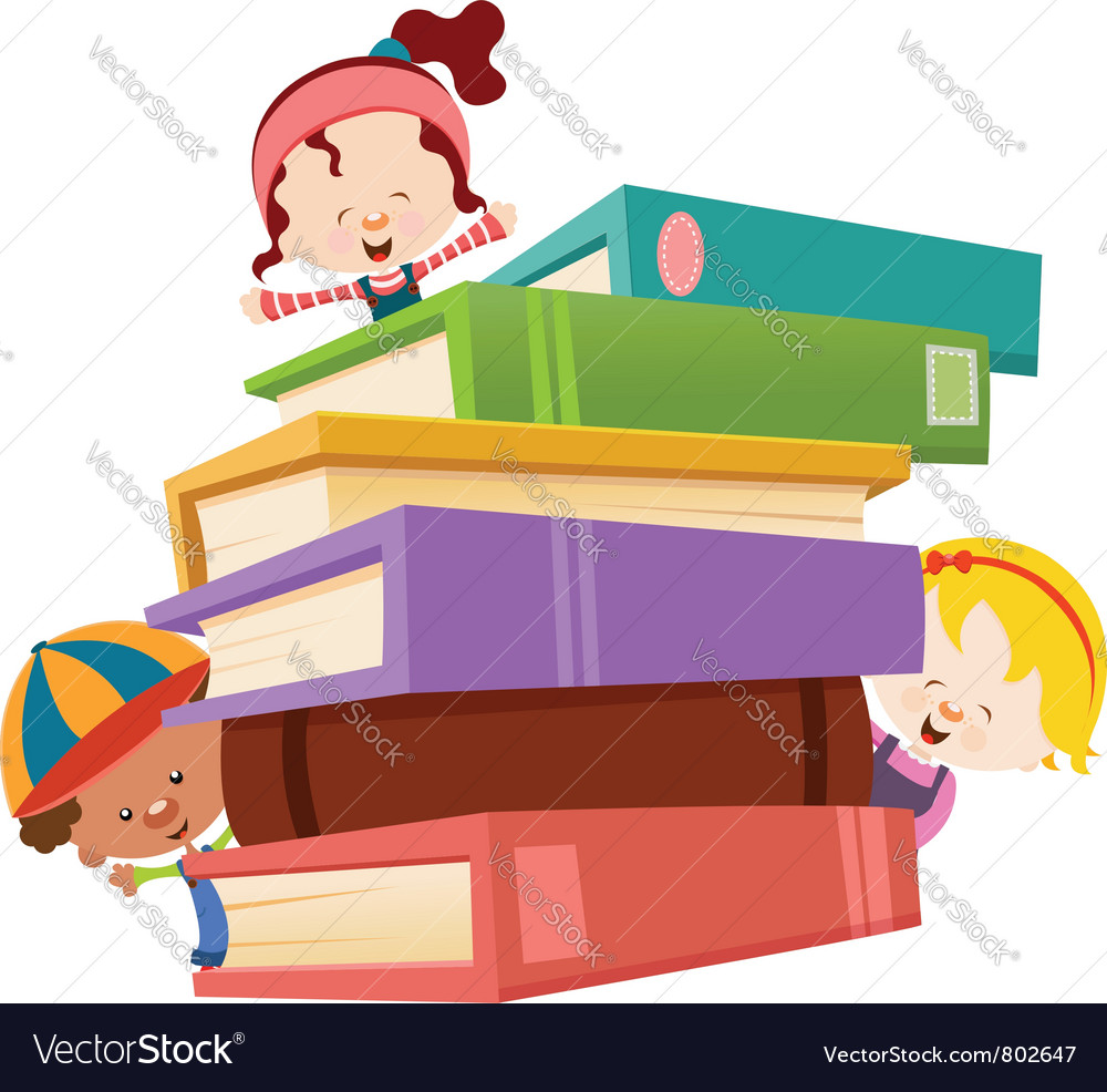 Kids with books vector