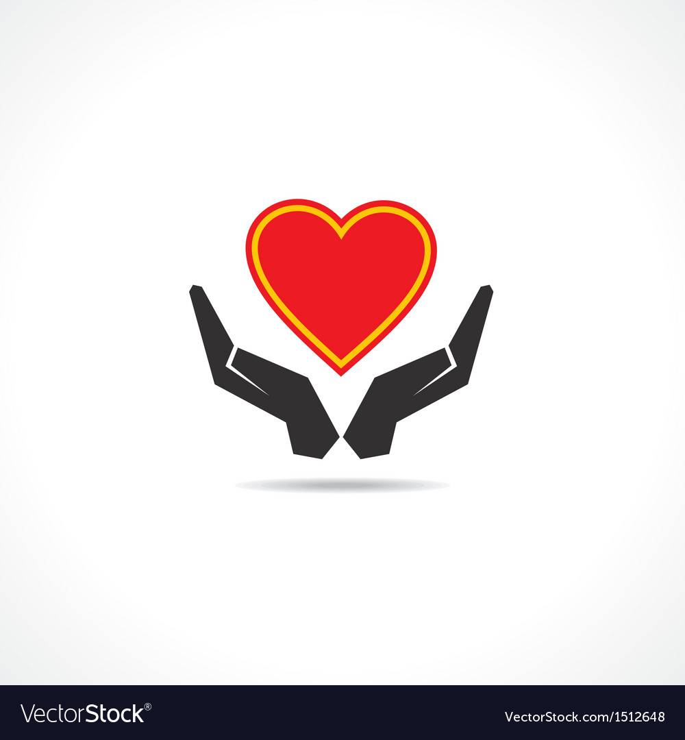 Hand protecting a heart icon vector