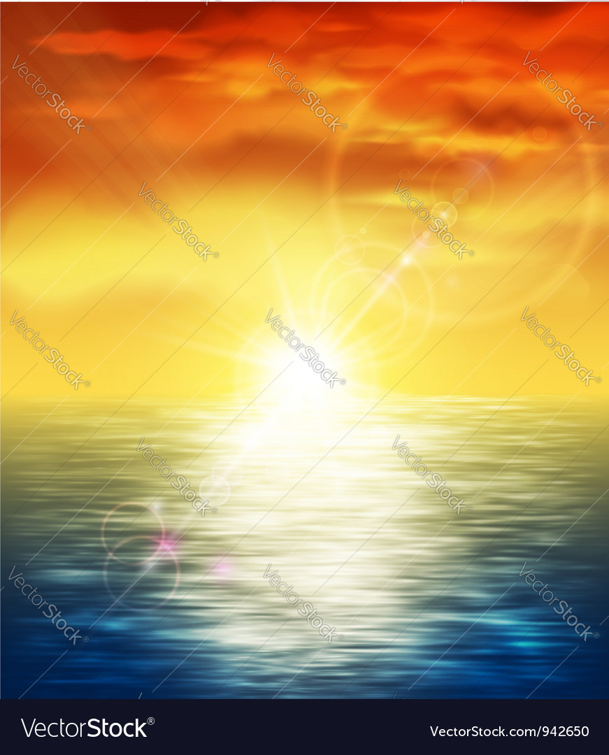 Sunset at sea vector