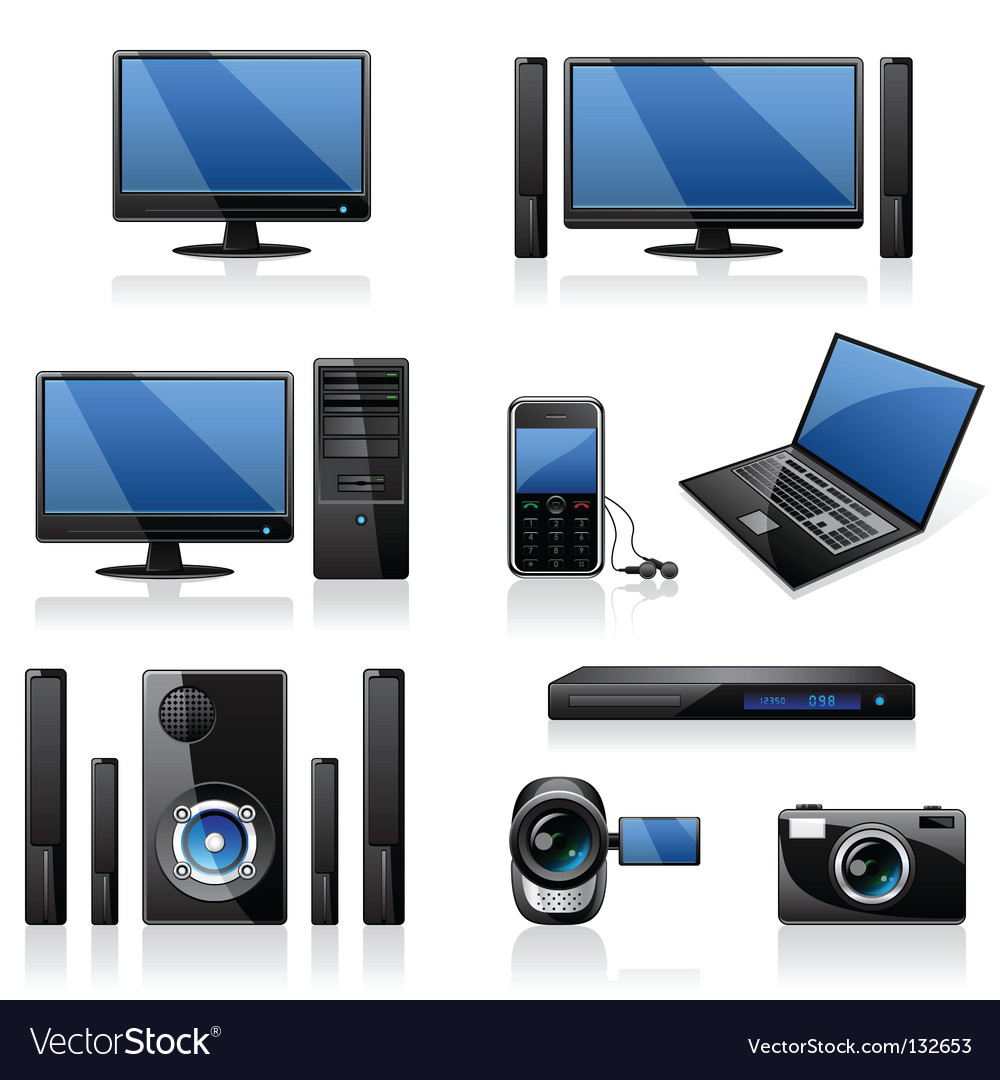 Computers icon set vector