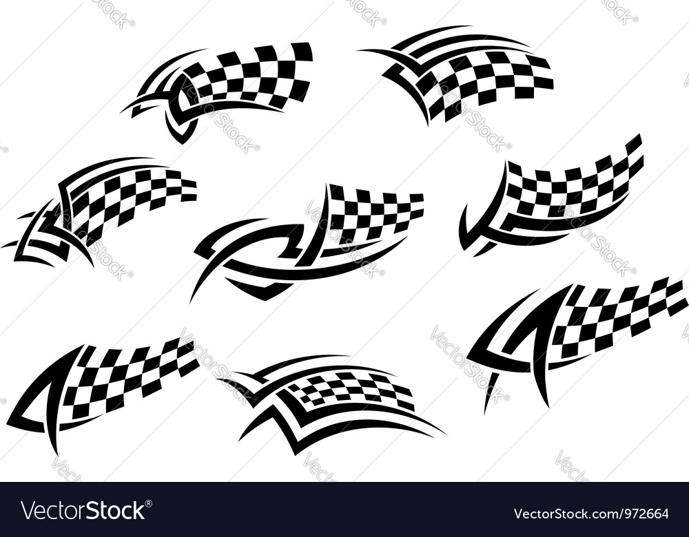 Checkered flags in tribal style vector