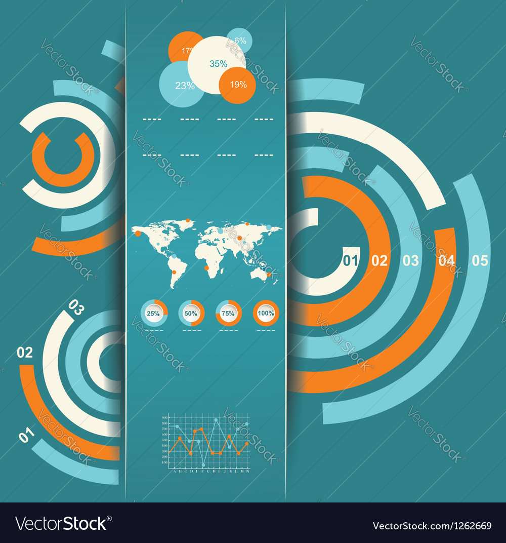 Set of infographic elements world map and vector