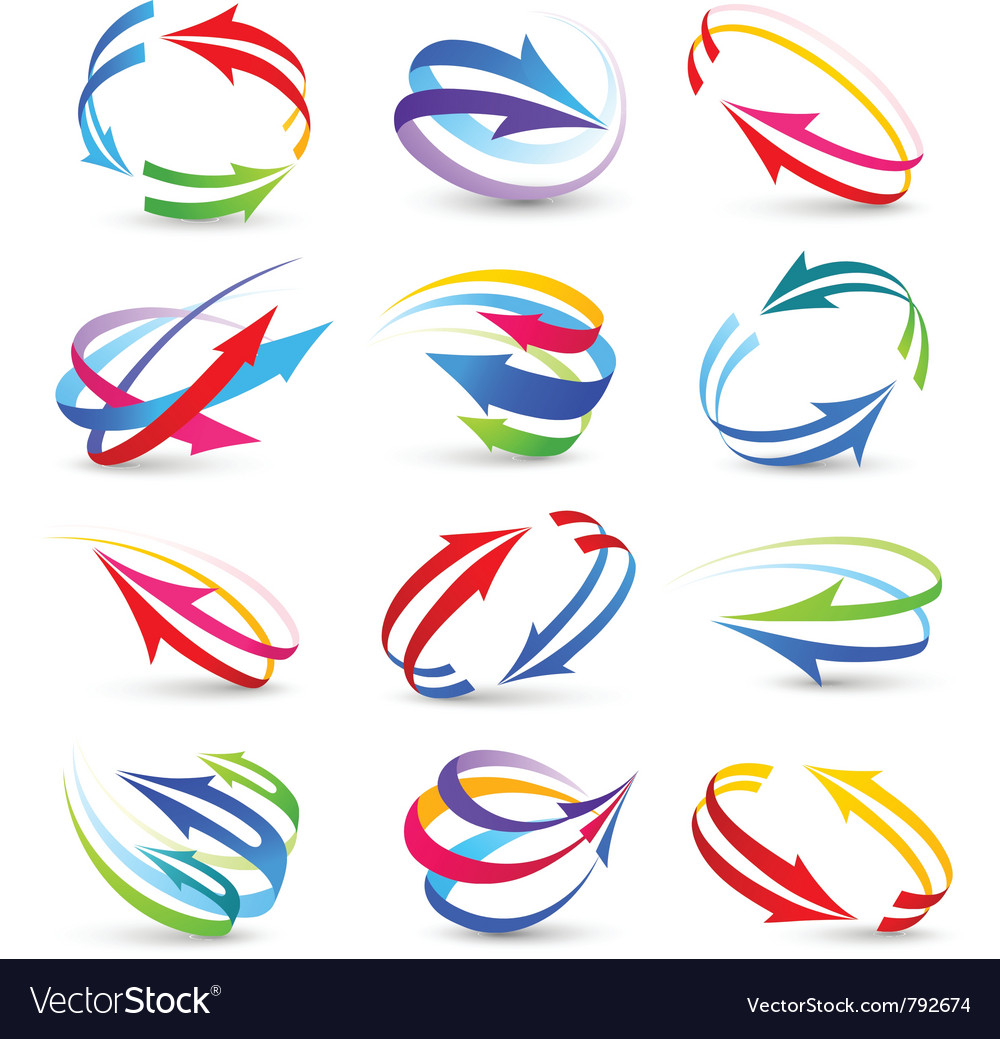 Collection of colour arrows vector