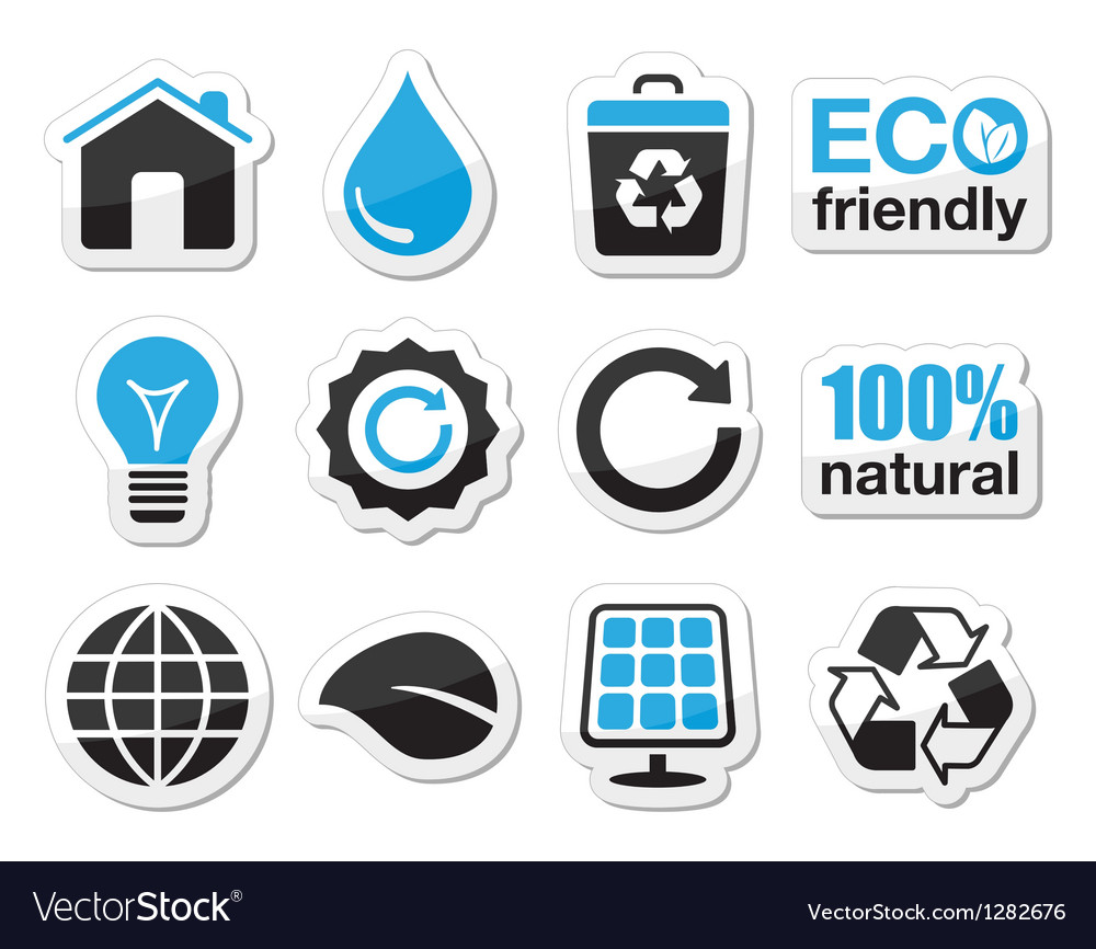 Ecology green recycling icons set vector