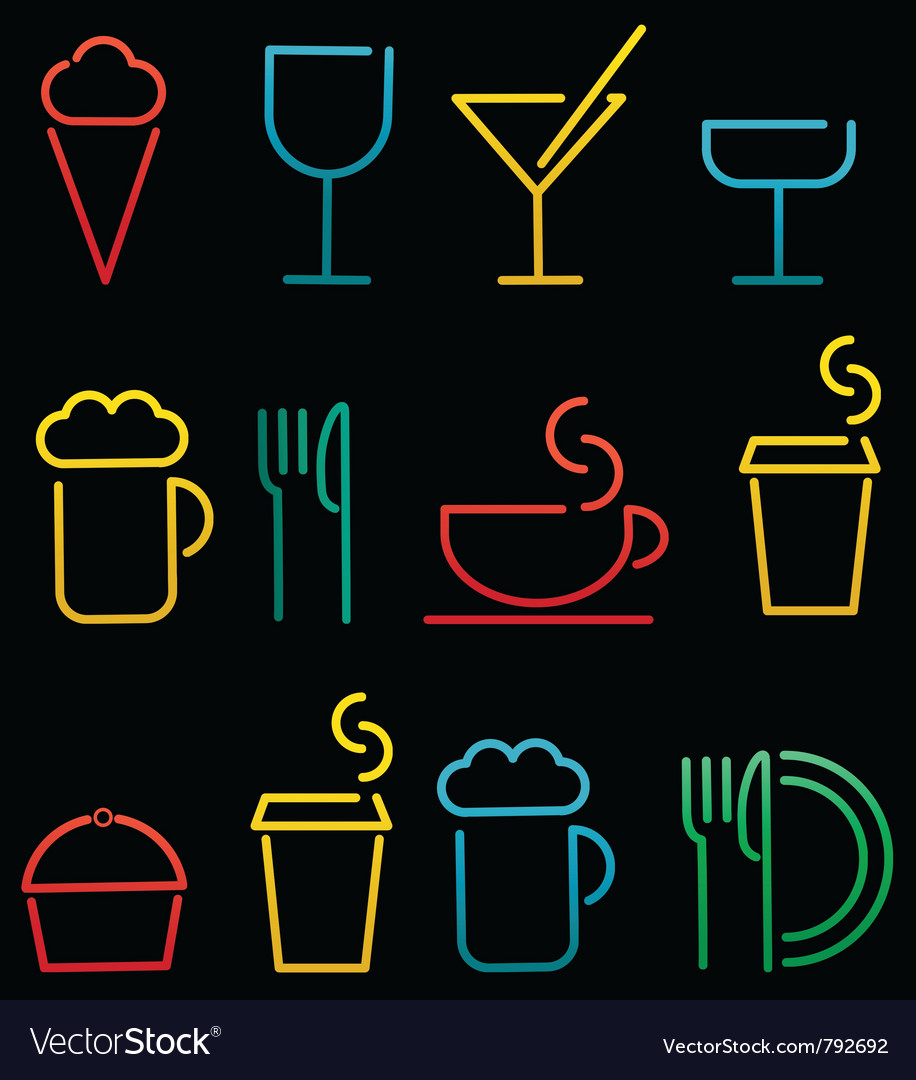 Colorful beverage and food set vector